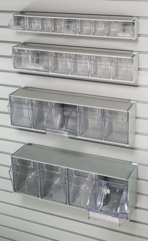 4 Tilt Bin Storage Unit requires HSHN3PAC clip for mounting to HandiWALL