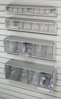 6 Tilt Bin Storage Unit requires HSHN3PAC clip for mounting to HandiWALL