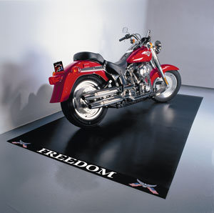 Freedom 5x10 Motorcycle Mat. Midnight Black. Heavy Duty Grade.