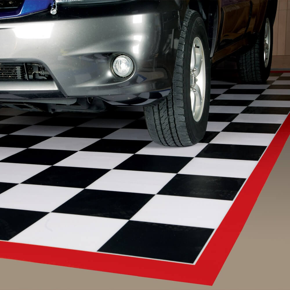 Welded 75 Mil Ceramic 5′x10′ -- Checkerboard with Red Border